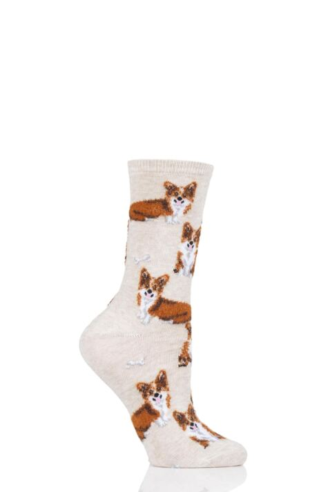 Ladies 1 Pair HotSox All Over Corgis Cotton Socks Product Image