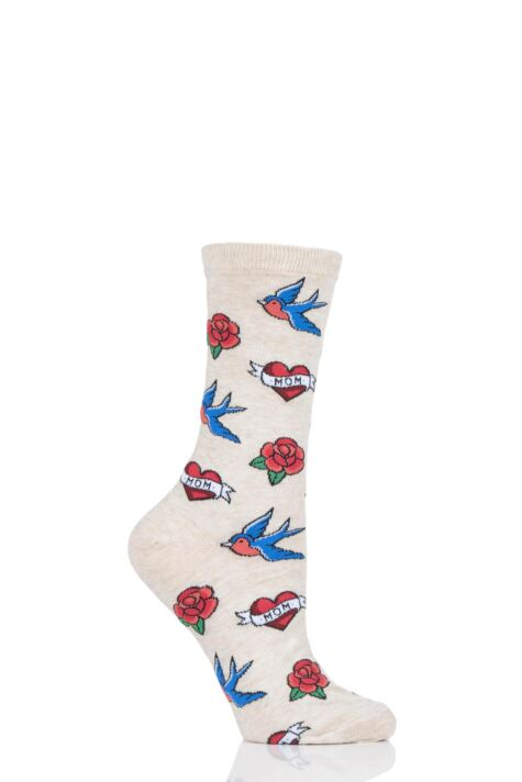 Ladies 1 Pair HotSox Old School Tattoo Mom Cotton Socks Product Image