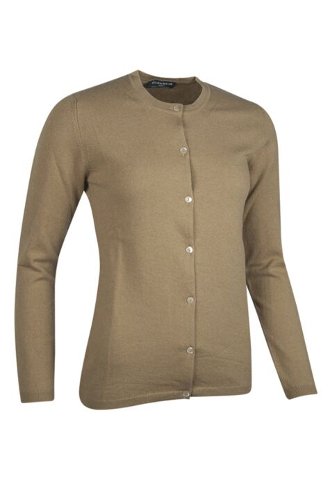 Ladies Great & British Knitwear Made In Scotland 100% Cashmere Golfer Cardigan Browns and Greens Product Image