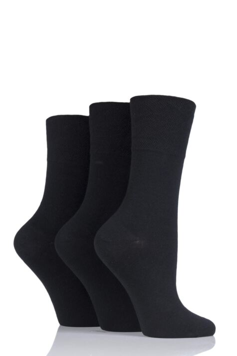 Ladies 3 Pair Iomi Footnurse Gentle Grip Diabetic Socks Product Image