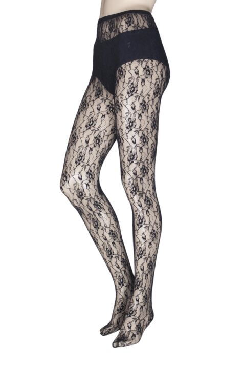 Ladies 1 Pair Jonathan Aston Sweet Roses Lace Tights Product Image