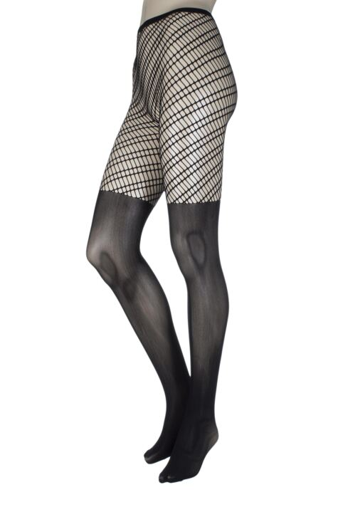 Ladies 1 Pair Jonathan Aston Aura Fishnet Sheer Bottomed Tights Product Image