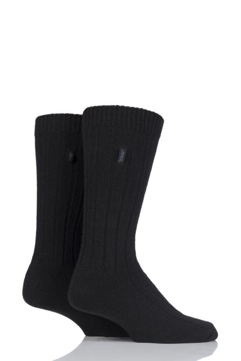 Mens 2 Pair Jeep Wool Blend Ribbed Boot Socks Product Image