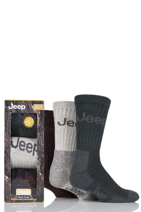 Mens 3 Pair Jeep Luxury Terrain Socks Gift Box Product Image