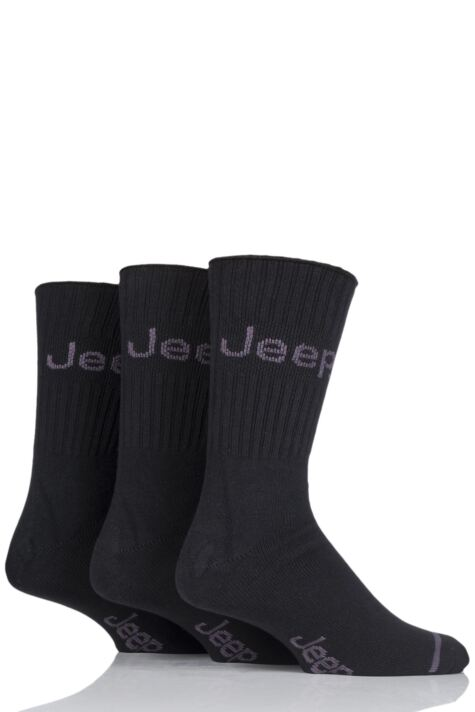 Mens 3 Pair Jeep Ribbed Cotton Boot Socks Product Image