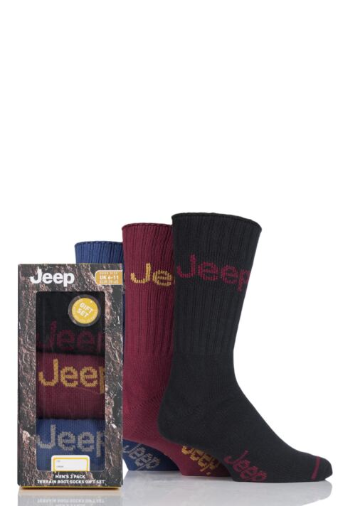Mens 3 Pair Jeep Ribbed Cotton Boot Socks In Gift Box Product Image