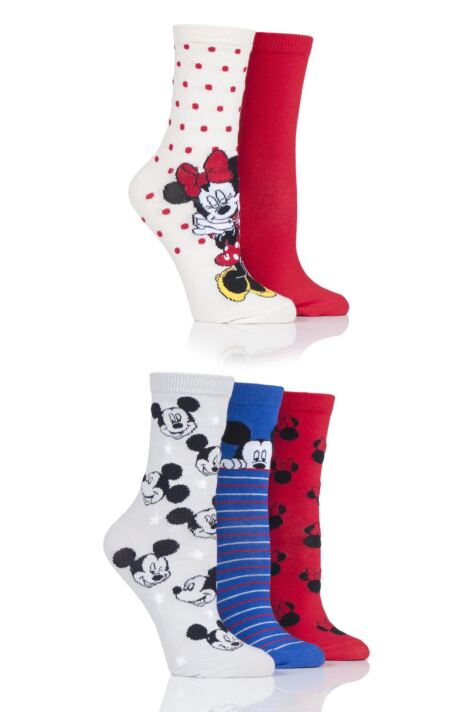 Ladies 5 Pair SockShop Mickey Mouse and Minnie Mouse Cotton Socks Product Image