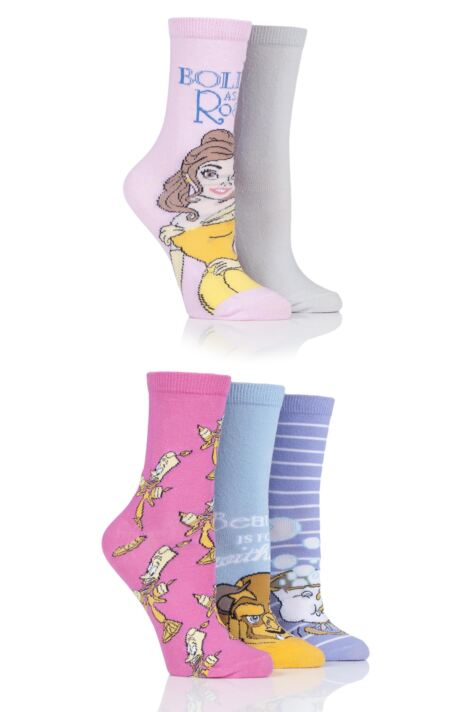Ladies 5 Pair SockShop Beauty and the Beast Cotton Socks Product Image