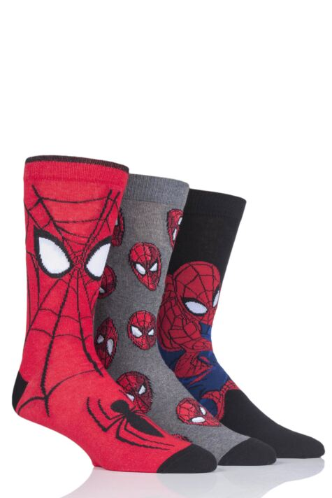 Mens and Ladies SOCKSHOP 3 Pair Marvel Spider-Man Cotton Socks Product Image