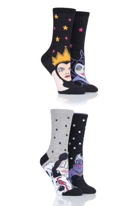 Ladies 4 Pair SOCKSHOP Disney Villains Ursula, Evil Queen, Maleficent and Cruella De Vil Socks Product Image
