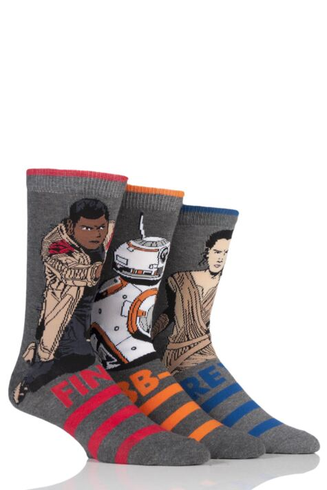 Mens 3 Pair Star Wars New Heroes BB-8, Rey and Finn Socks Product Image