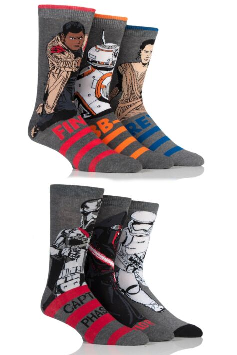 Mens 6 Pair SockShop Star Wars New Heroes and Villains Cotton Socks Product Image