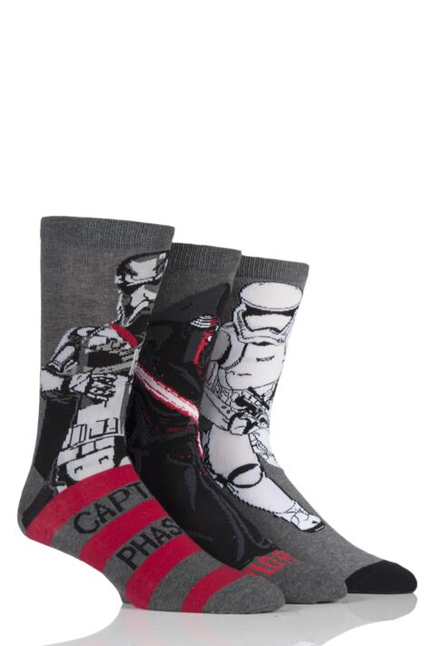 Mens 3 Pair Star Wars New Villains Kylo Ren, Captain Phasma and Storm Trooper Socks Product Image