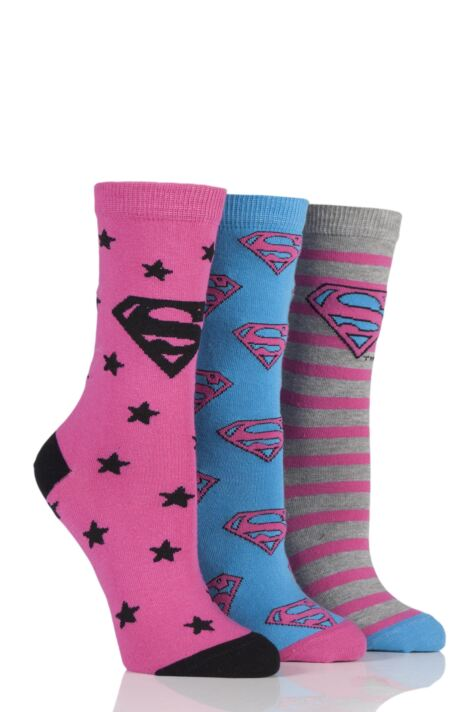 Ladies 3 Pair DC Superman / Supergirl Logo Socks Product Image