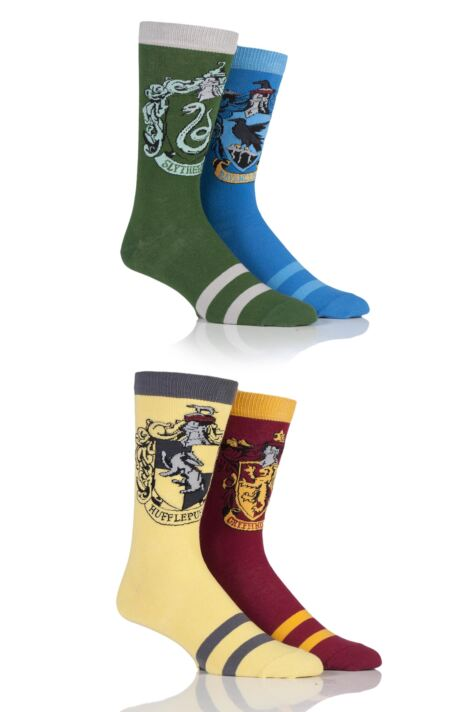 Mens 4 Pair Harry Potter House Badge Socks Product Image