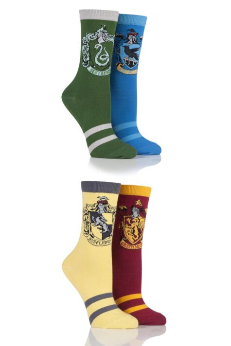 Ladies 4 Pair Harry Potter House Badge Socks Product Image