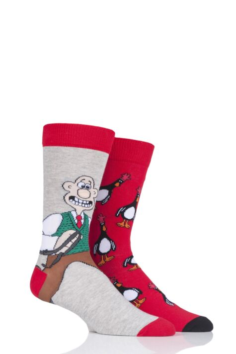Mens 2 Pair SOCKSHOP Wallace and Gromit Cotton Socks Product Image