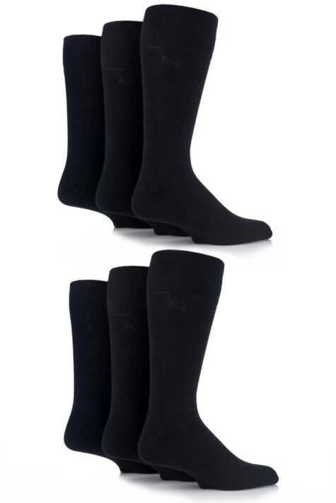 Mens 6 Pair Pringle Dunvegan Comfort Cuff Plain Cotton Socks Product Image