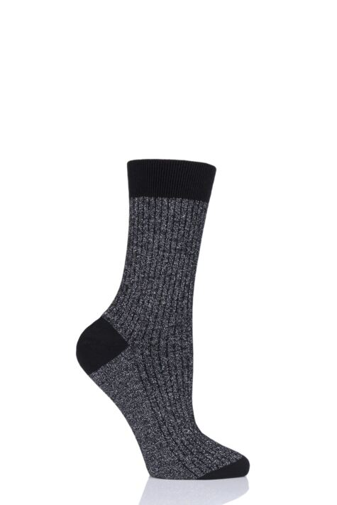 Ladies 1 Pair Pantherella Larissa Sparkle Ribbed Cotton Cashmere Socks Product Image
