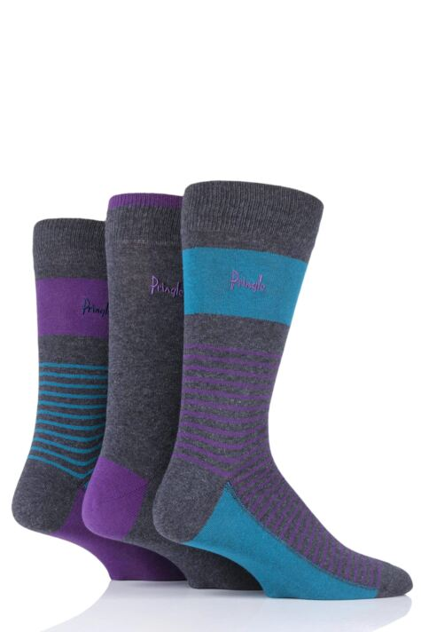 Mens 3 Pair Pringle Small Stripe and Plain Cotton Socks Product Image