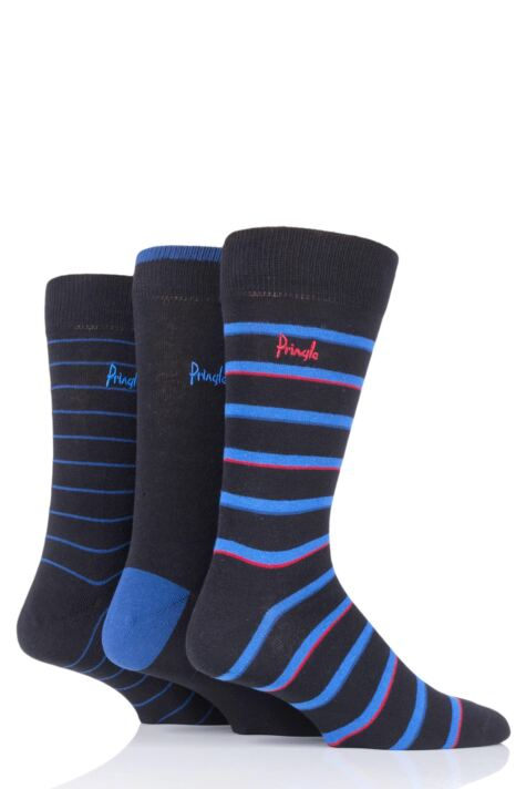 Mens 3 Pair Pringle Fine Stripe and Plain Cotton Socks Product Image