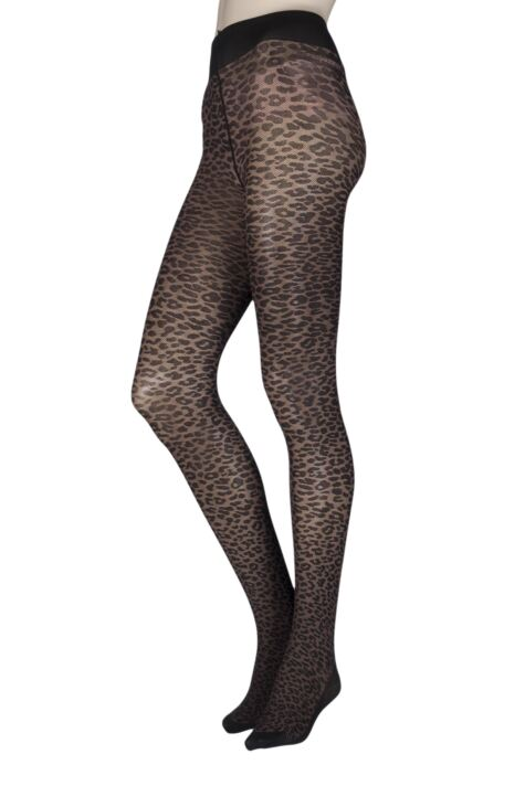 Ladies 1 Pair Trasparenze Leone Animal Print Back Bow Tights Product Image