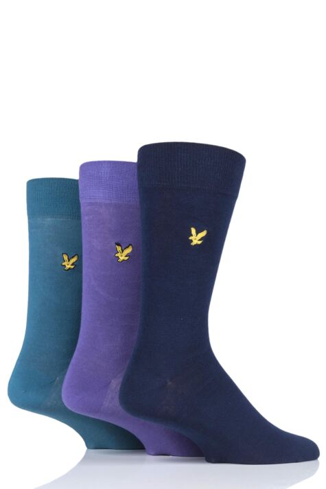Mens 3 Pair Lyle & Scott Angus Eagle Embroidery Cotton Socks Product Image