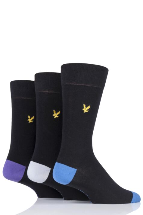 Mens 3 Pair Lyle & Scott Kennedy Contrast Heel and Toe Cotton Socks Product Image