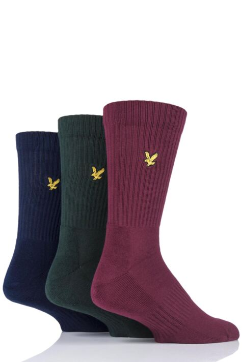 Mens 3 Pair Lyle & Scott Hamilton Plain Cotton Sports Socks Product Image