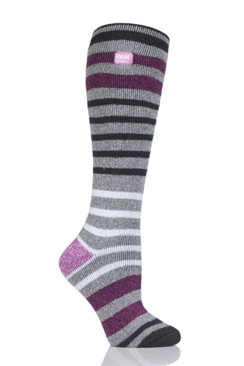 Ladies 1 Pair Heat Holders 1.6 TOG Lite Patterned and Striped Knee High Socks Product Image