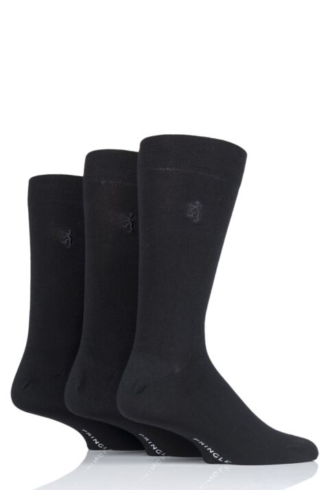 Mens 3 Pair Pringle Black Label Gentle Grip Bamboo Socks Product Image