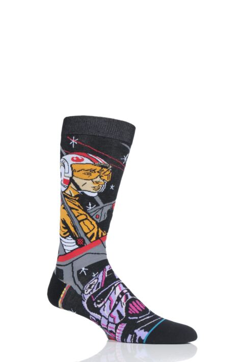 Mens 1 Pair Stance Star Wars Warped Pilot Cotton Blend Socks Product Image