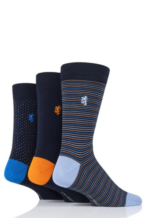 Mens 3 Pair Pringle Black Label Fine Stripe and Dots Bamboo Socks Product Image