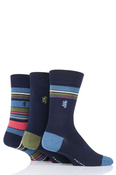 Mens 3 Pair Pringle of Scotland Top Stripe and Plain Bamboo Socks Product Image