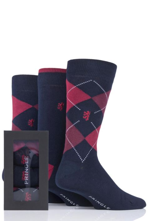 Mens 3 Pair Pringle of Scotland Gift Boxed Argyle and Plain Bamboo Socks Product Image