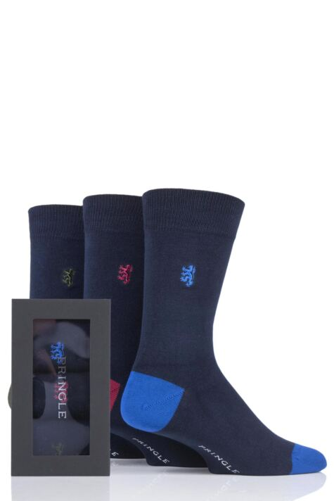 Mens 3 Pair Pringle of Scotland Gift Boxed Contrast Heel and Toe Bamboo Socks Product Image