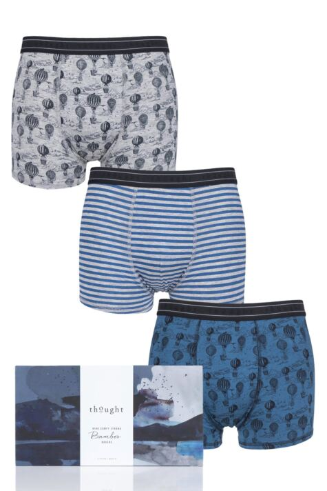Mens 3 Pack Thought High in the Sky Bamboo Boxers Gift Box Product Image