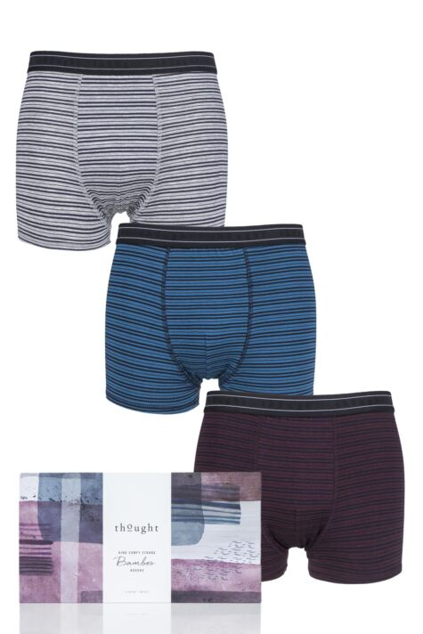 Mens 3 Pack Thought Striped Bamboo Boxers Gift Box Product Image