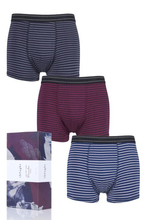 Mens 3 Pack Thought Striped Bamboo and Organic Cotton Boxer Shorts in Gift Box Product Image