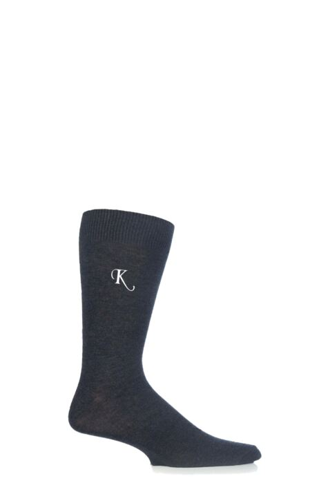 Mens 1 Pair SockShop New Individual Embroidered Initial Socks - K-O Product Image