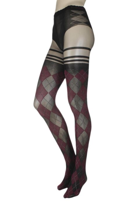 Ladies 1 Pair Trasparenze Menfi Large Argyle Mock Hold Up Tights Product Image