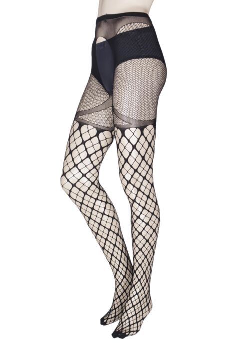 Ladies 1 Pair Trasparenze Merlot Large Net Strip Panty Tights Product Image