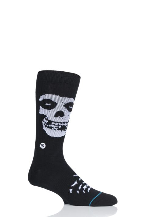 Mens 1 Pair Stance Misfits Skull Cotton Socks Product Image
