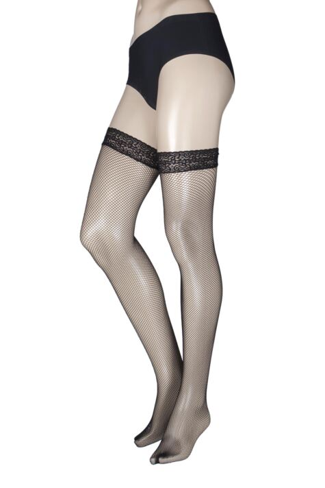 Ladies 1 Pair Miss Naughty Fishnet Lace Top Hold Ups - Up to XXXL Product Image