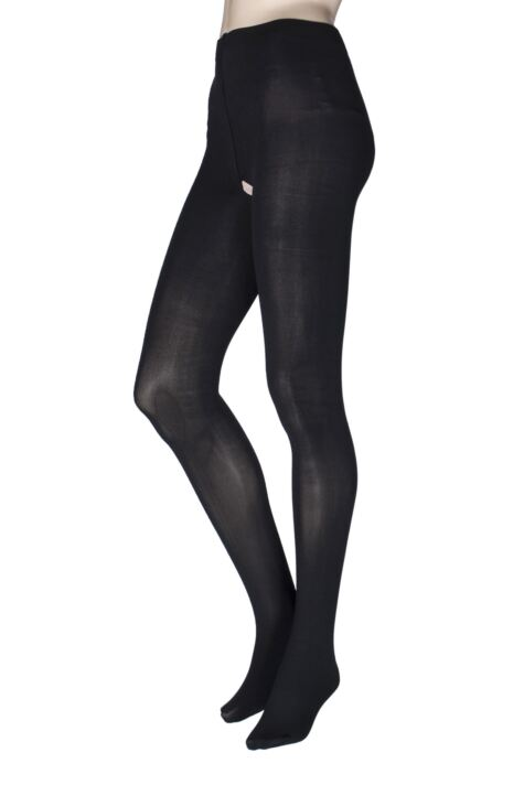 Ladies 1 Pair Miss Naughty 100 Denier Crotchless Tights - Up to XXXL Product Image