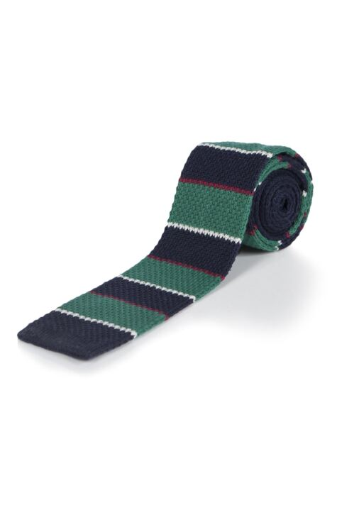 Moustard Striped Cotton Knitted Tie - Green Stripe Product Image