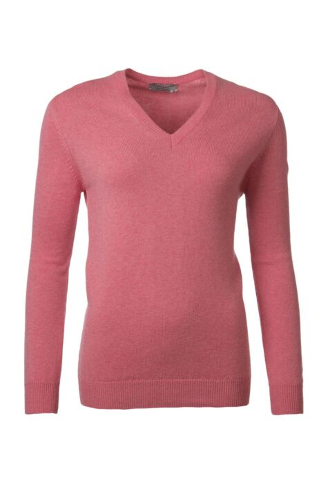 Ladies Great & British Knitwear 100% Lambswool Plain V Neck Jumper Product Image