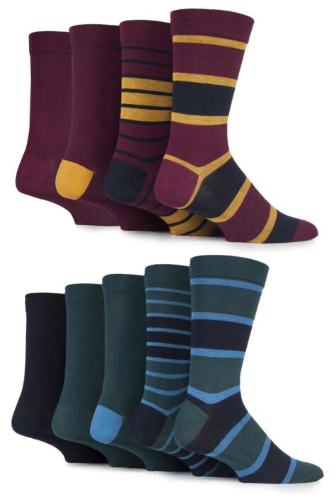 Mens 9 Pair SOCKSHOP Comfort Cuff Plain and Patterned Bamboo Socks with Smooth Toe Seams Product Image