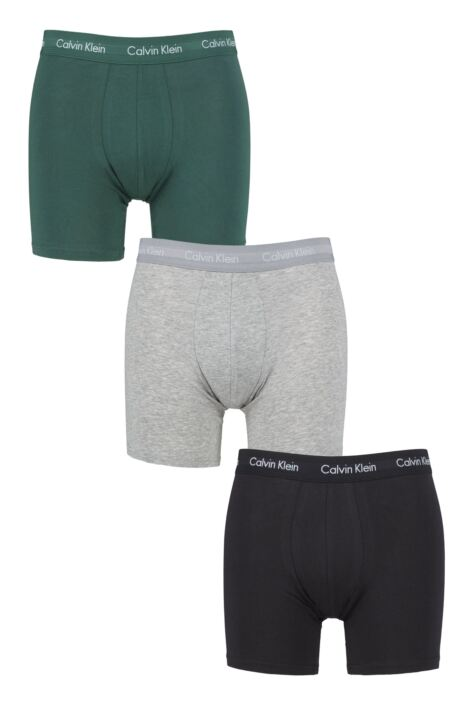Mens 3 Pack Calvin Klein Cotton Stretch Longer Leg Boxer Brief Shorts Product Image