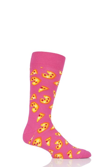 Mens and Ladies 1 Pair Happy Socks Junk Food Pizza Combed Cotton Socks Product Image